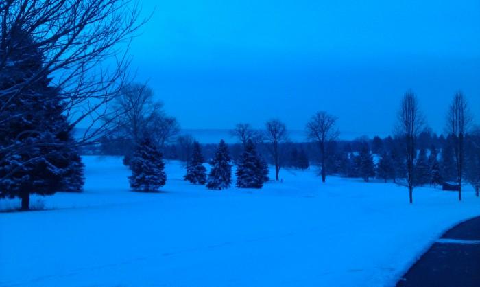 Verse sneeuw op de golfbaan