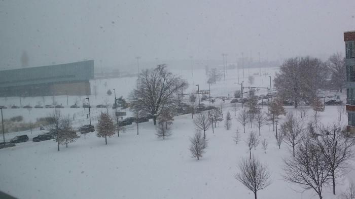 Een sneeuwfile!