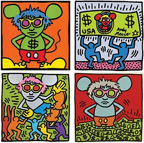 Schilderij van Keith Haring - die muis moet Andy Warhol voorstellen