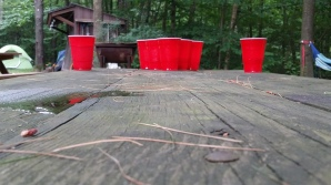De setup van 'beer pong'