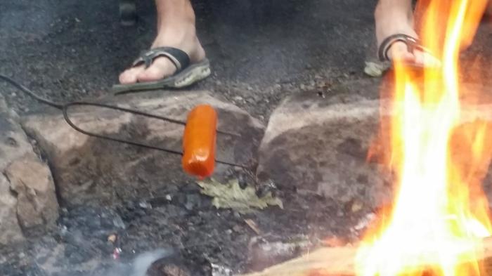 Hotdog op een prikker