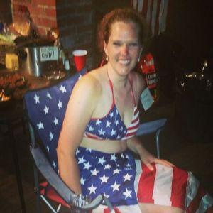 Mijn Stars and Stripes bikini, met Amerikaanse vlag als rok