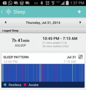 Slaaplogboek van de FitBit. Ik ben tig keer wakker en tig keer onrustig gedurende een nacht...