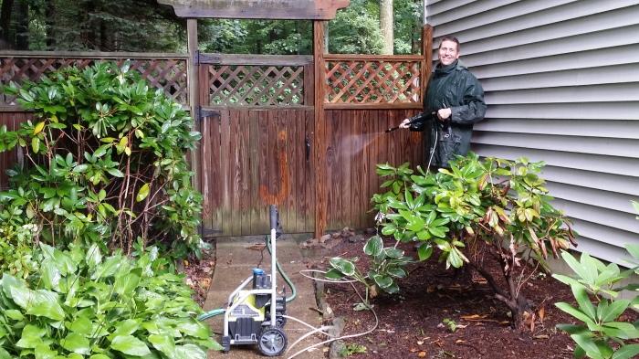 Eerst de hekken schoonspuiten met de hogedrukspuit