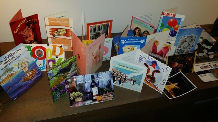 Verjaardags-, trouwdag- en verhuiskaarten. Allemaal bedankt!!