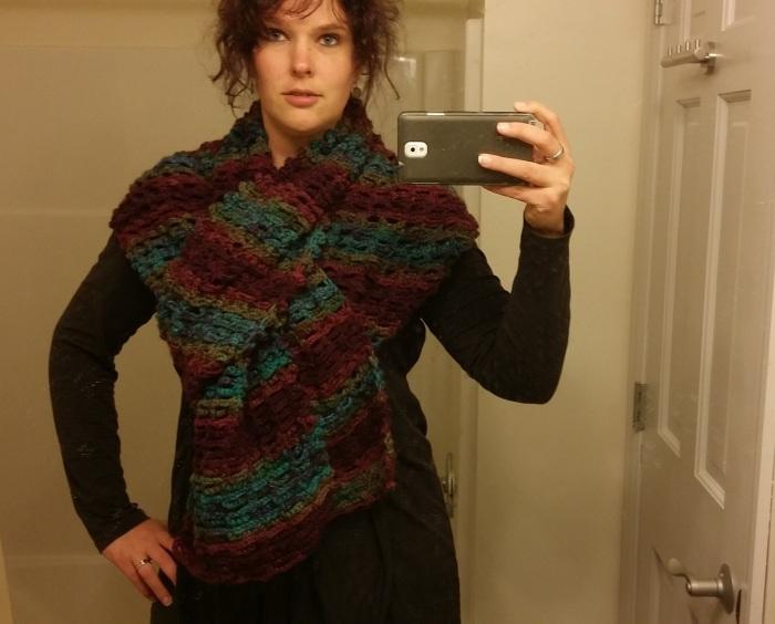 Een nieuwe, lange, dikke, warme sjaal!