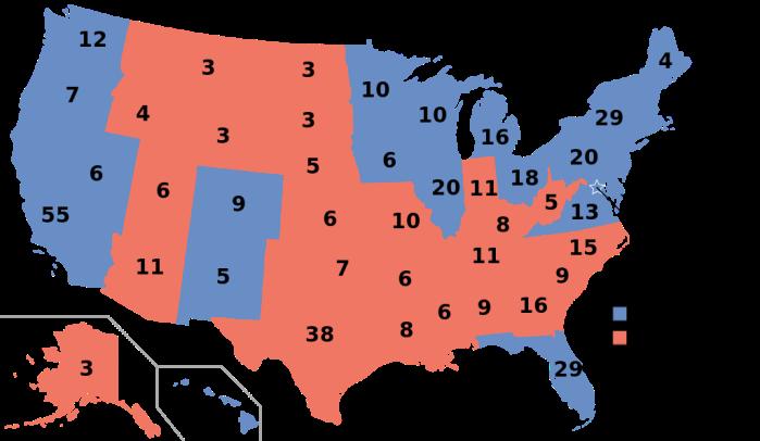 Verdeling van kiesmannen in Amerika in 2012 (Pennsylvania stemde op Obama) (van Wikipedia)