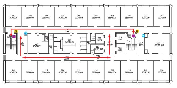 Een plattegrond van een verdieping van de dorms