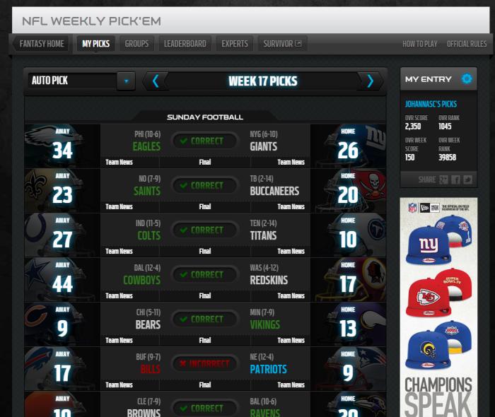 De Weekly Pick'em (toto) van de NFL