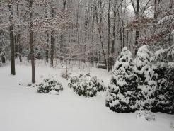 Een hele hoop sneeuw in de achtertuin