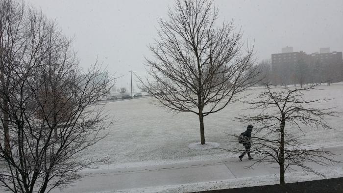 Het sneeuwt weer eens. Nog maar eens...