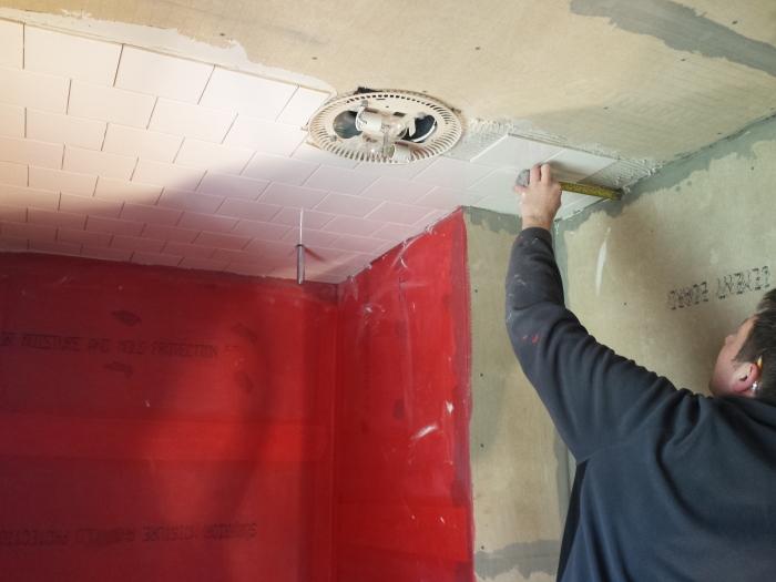 De muren van het douchegedeelte zijn nu ook waterdicht gemaakt. En het tegelen van het plafond is begonnen