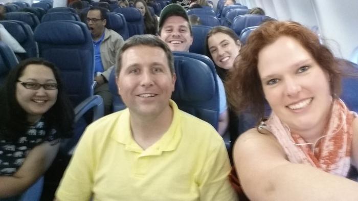 Selfie in het vliegtuig
