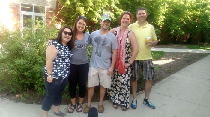Deel 1 van de groep: Emma, Jess, Peter, ik en Michiel