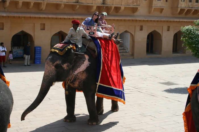 Peter en Jess op de olifant
