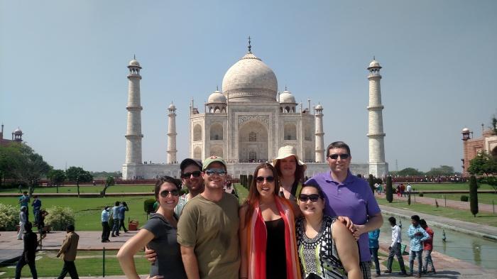 En de groepsfoto voor de Taj Mahal