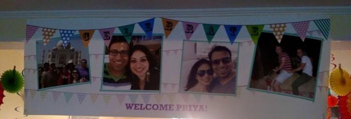 Welcome Priya! Op een spandoek!