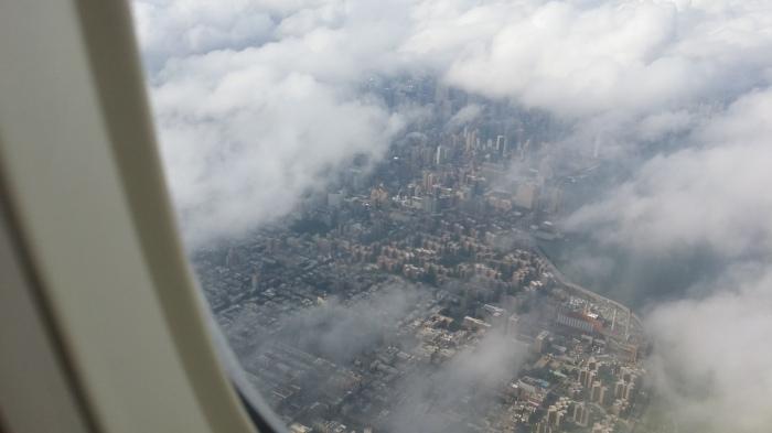 De wolkenkrabbers van Manhattan vanuit de lucht