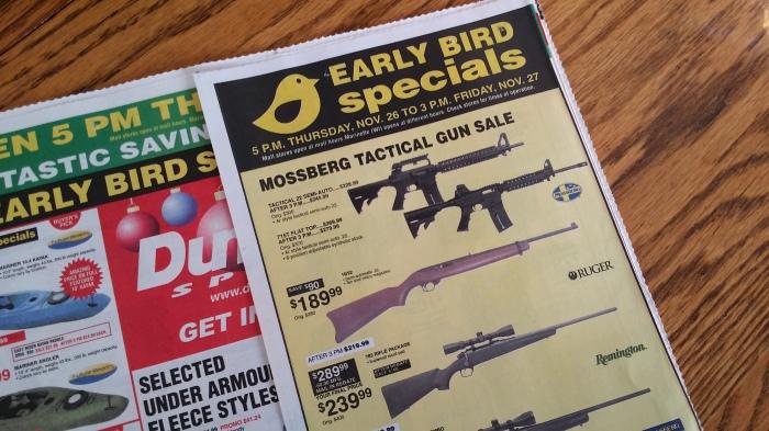 En zo worden die geweren voor Black Friday aangeboden...