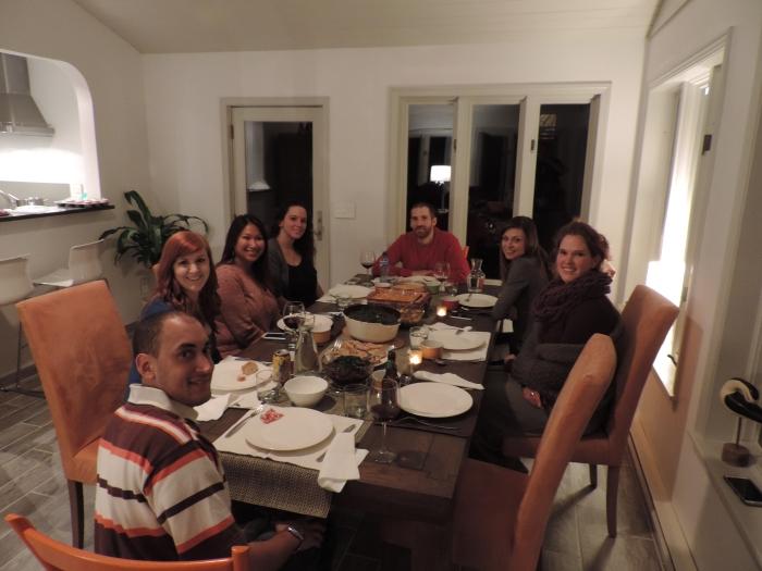 Dinner Club: Philip, Louise, Sam, Kayla, Joachim, Louise en ik (en Michiel achter de camera)