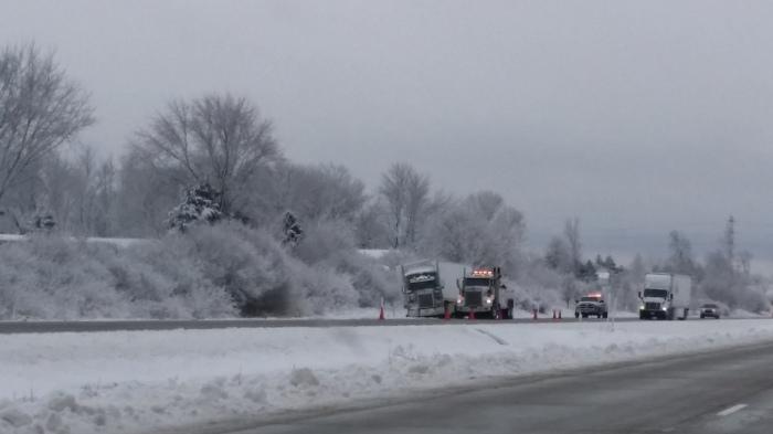 Vrachtwagen in de sneeuw...