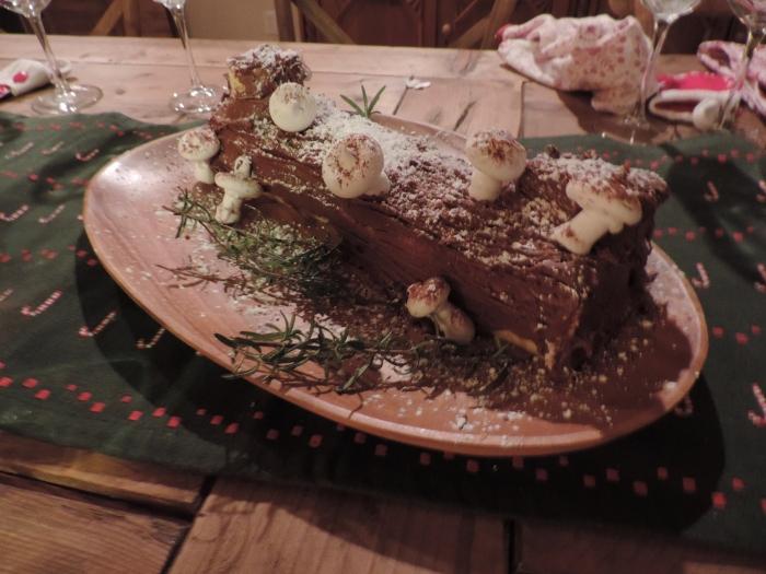Het yule log (kerst boomstam). Net echt!