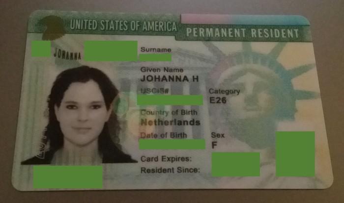 Mijn green card (met wat details weggehaald)