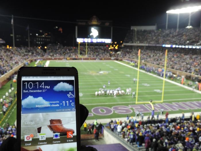 In het stadion... met een temperatuurmeting!