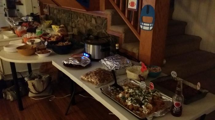 Pannenkoeken, chili, kip-in-spek, desserts, quacemole, en heel veel zoetigheid!