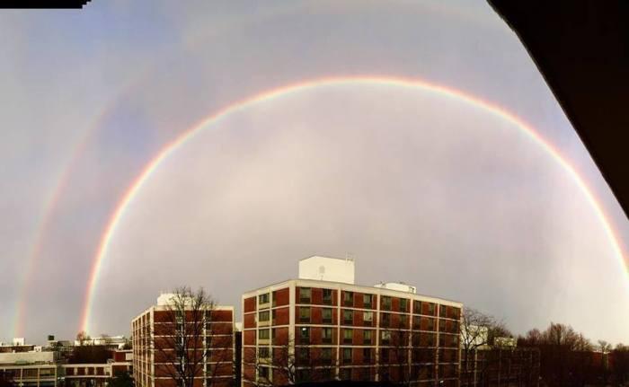 De regenboog boven de studenten 'residence' gebouwen tegenover de business school