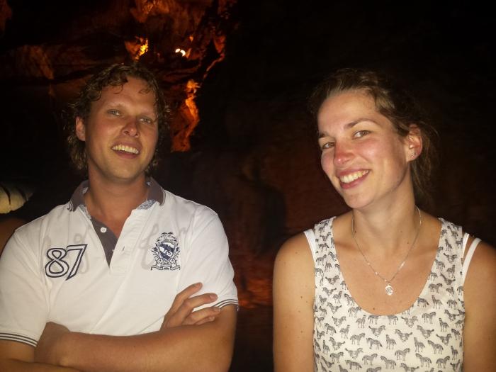Klaas en Linda in de boot bij Penn's Cave