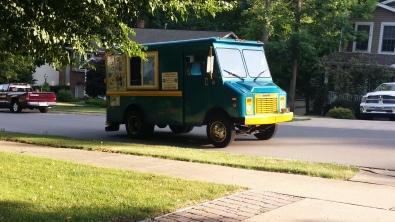 De Funky Freezer ice cream truck voor ons huis
