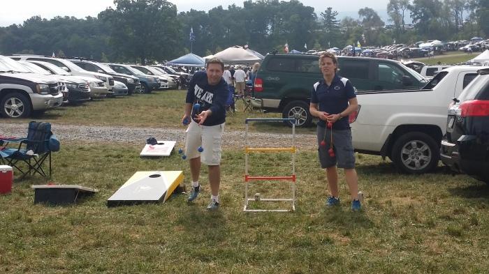 Michiel en Cees aan de ladderball