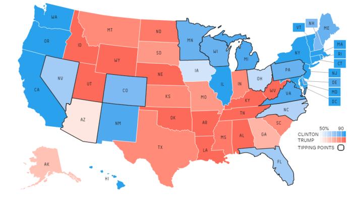 De verwachte uitslag op basis van de peilingen (van 11 oktober) per staat