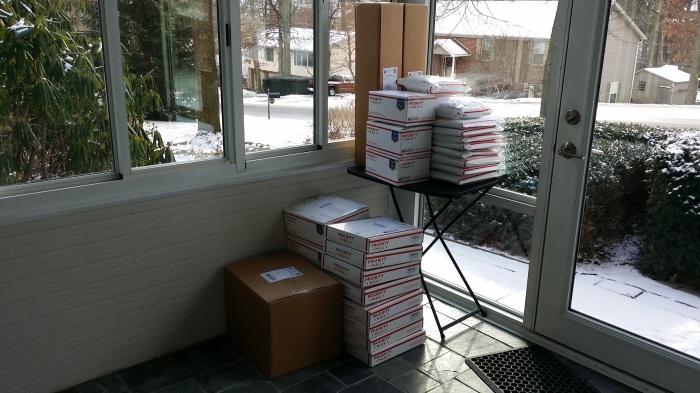 35 pakketjes voor de postbode!