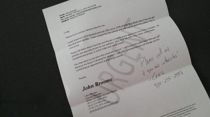 De brief (email...) over mijn auto, die John al half aan een ander had verkocht...